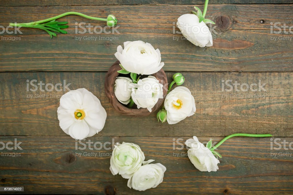 White flowers on wooden background. Flat lay, top view. Floral background. royalty-free stock photo