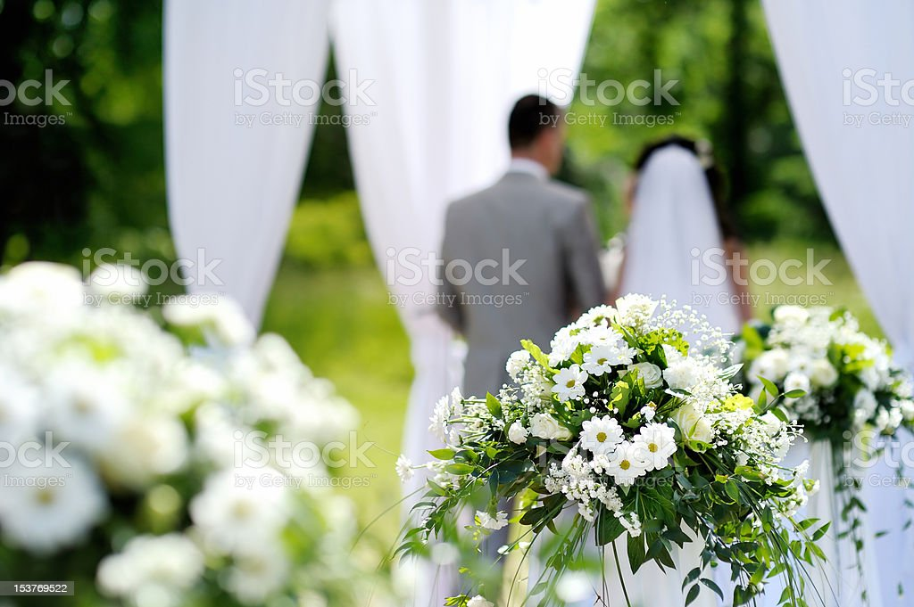 White flowers wedding decorations royalty-free stock photo