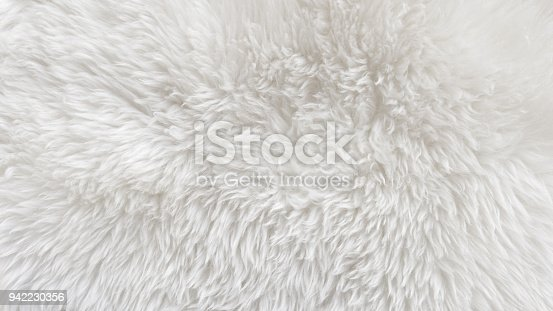 White Fluffy Sheep Wool Texture Beige Natural Wool