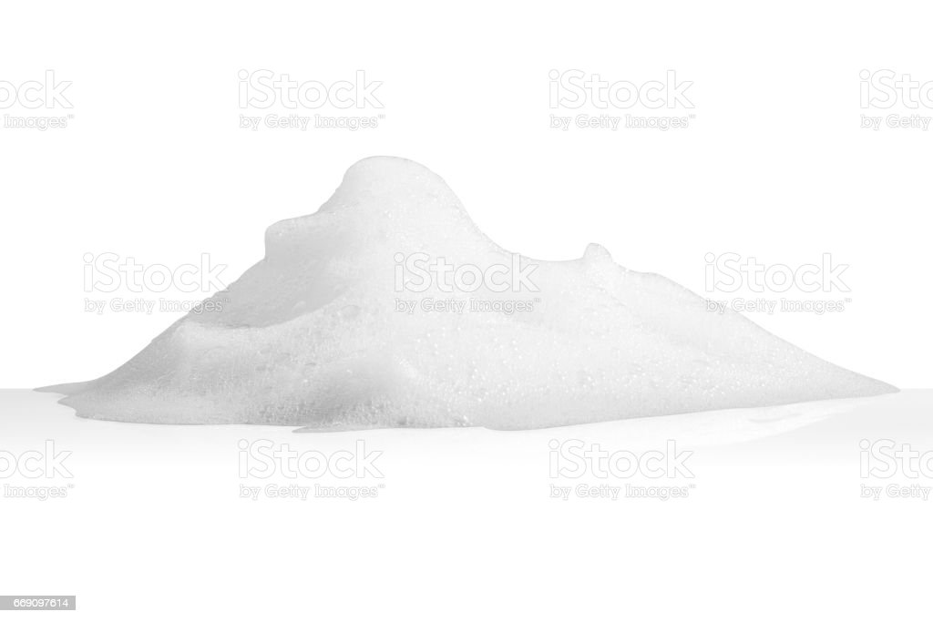 white foam bubbles texture isolated on white background stock photo