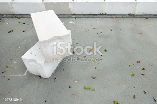 istock White foamed lightweight concrete (aerated concrete block) in under construction industrial building. Background with negative space (copy space). 1197310949
