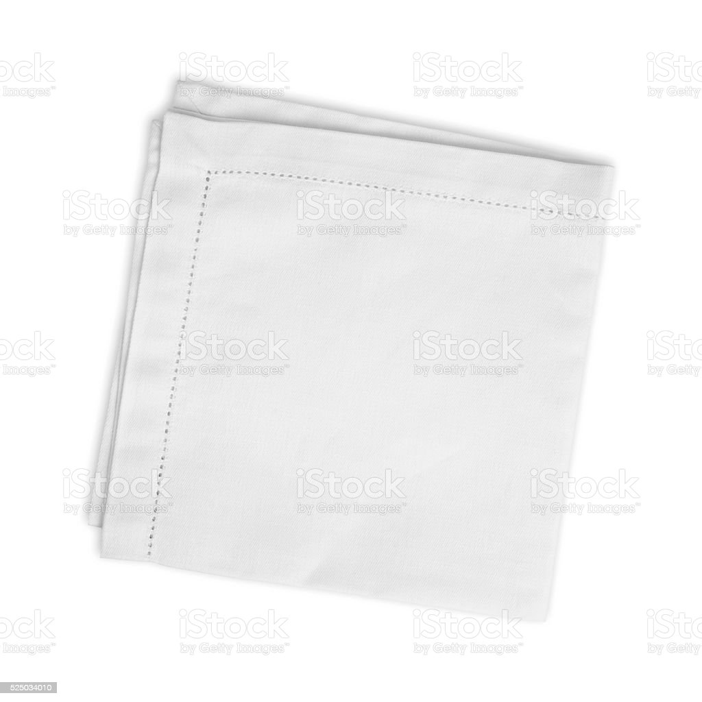 White folded linen napkin isolated on white background stock photo
