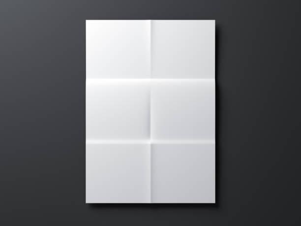 weißes papier mockup, brief oder einladung gefaltet - faltpapier stock-fotos und bilder