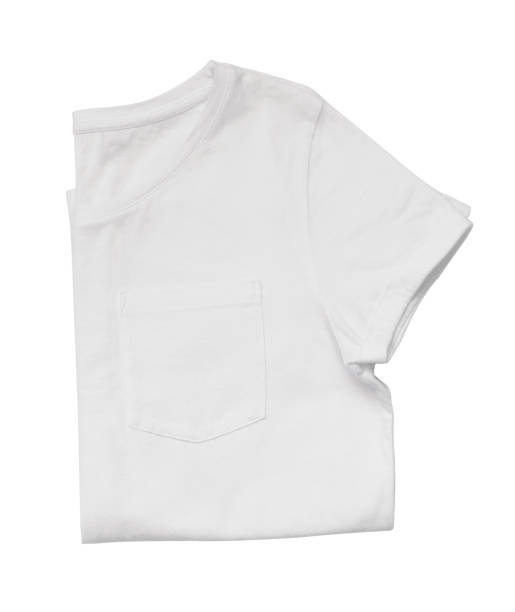white folded t-shirt - pocket stock photos and pictures