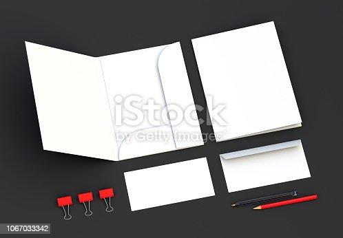 istock White Folder Mockup with envelopes. 3d rendering. 1067033342