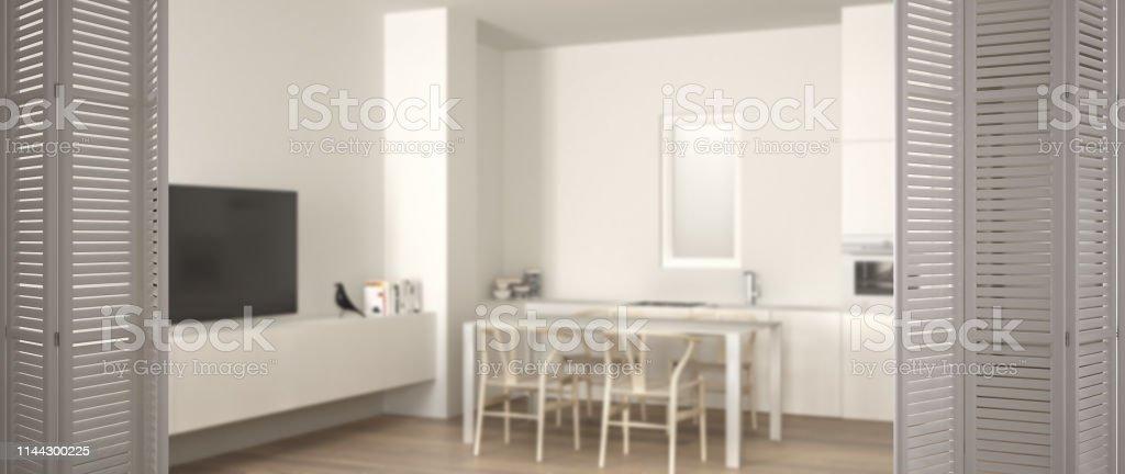 Puerta Plegable Blanca En Cocina Blanca Minimalista Con Mesa ...