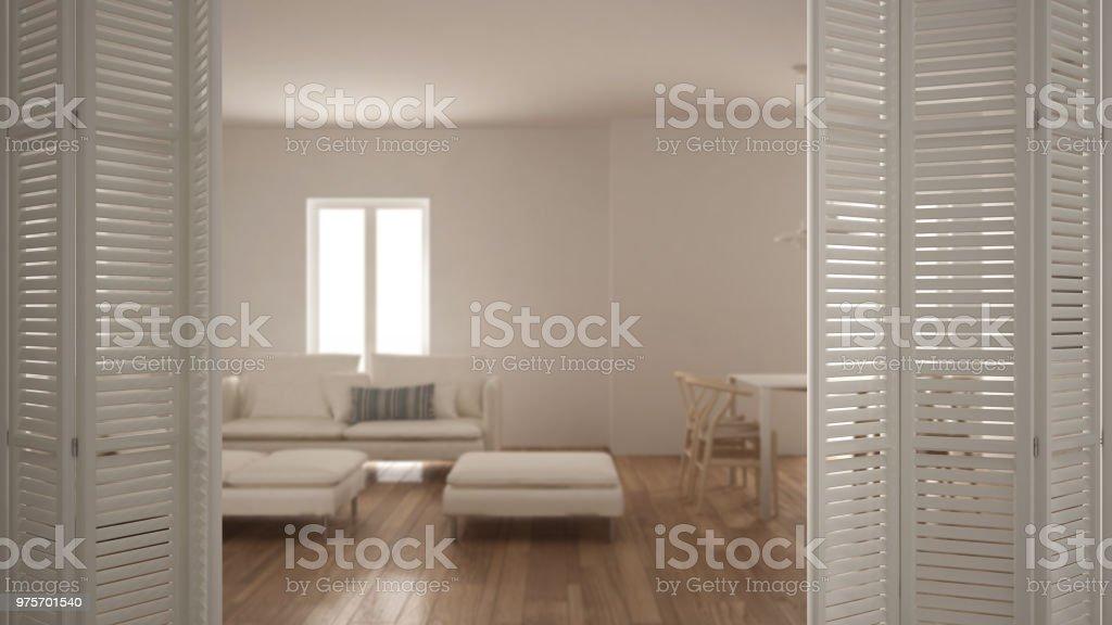 Weisse Falttur Eroffnung Am Modernen Wohnzimmer Mit Kuche Und
