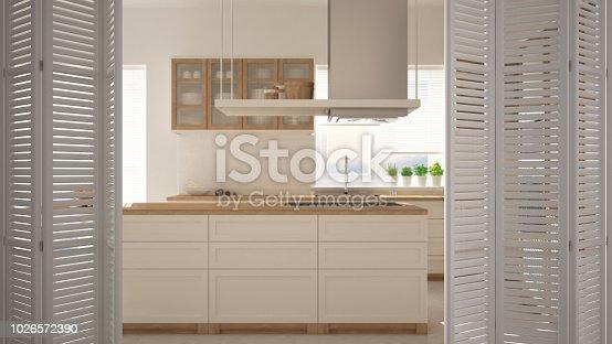 istock White folding door opening on modern minimalist kitchen with island, white interior design, architect designer concept, blur background 1026572390
