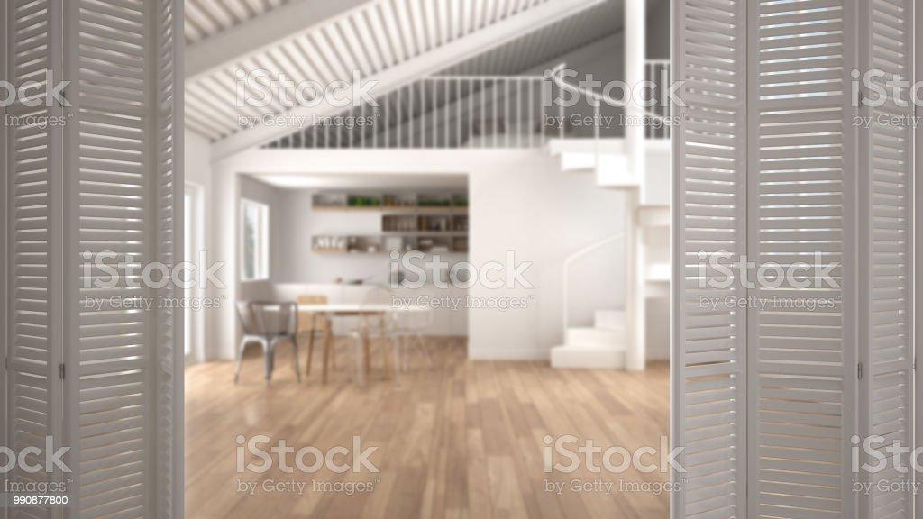 Weiße Falttür Eröffnung Am Modernen Minimalistischen Offenen Raum Mit Küche  Und Mezzanine Mit Schlafzimmer Wendeltreppe Innenarchitektur Architekt ...