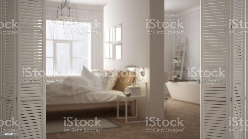 Blanche Porte Ouvrant Sur Une Chambre Scandinave Moderne Avec Salle De  Bain, Design Du0027