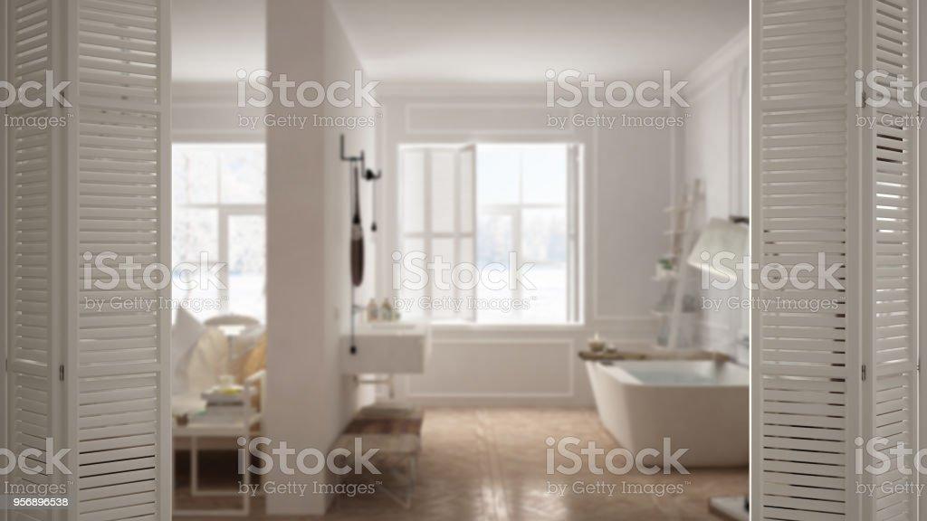 Photo de stock de Blanche Porte Ouvrant Sur Une Chambre Scandinave ...