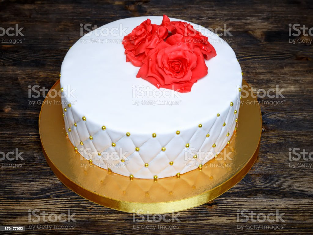White Fondant Cake With Red Cream Sugar Flowers Stock Photo More