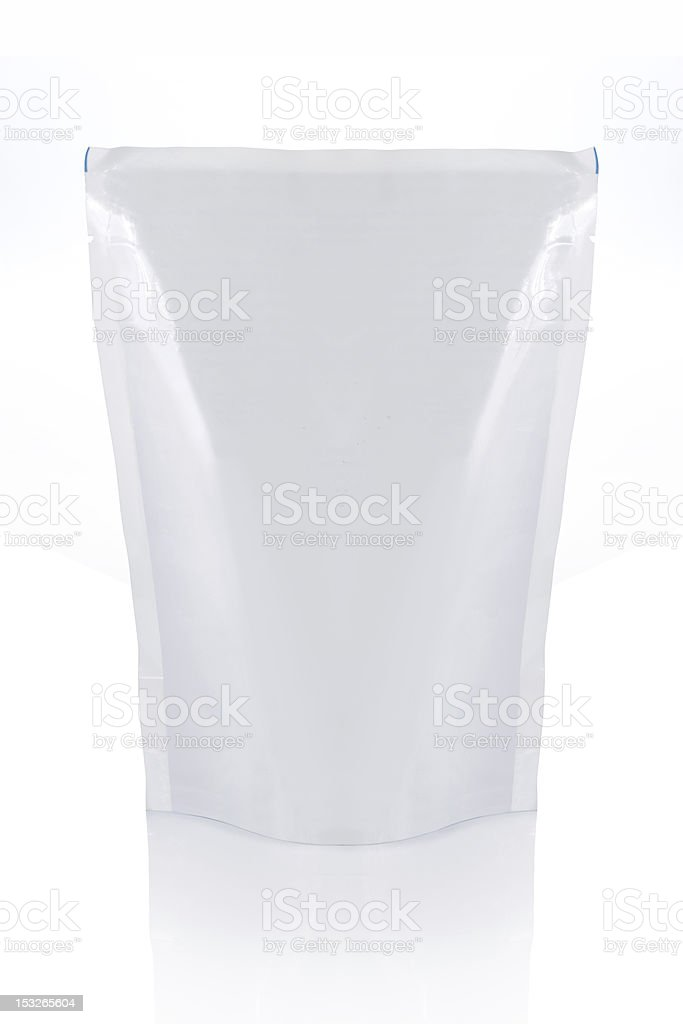 A white food bag on a white background alone royalty-free stock photo