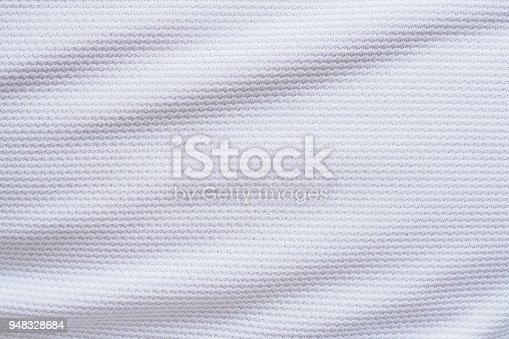 istock White football jersey clothing fabric texture sports wear background 948328684