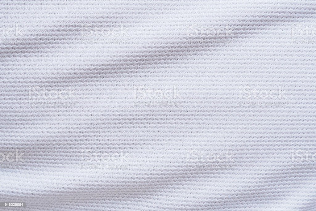 White football jersey clothing fabric texture sports wear background stock photo