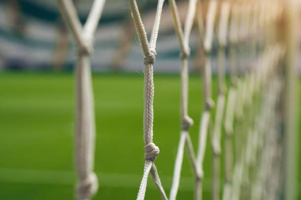 white football net, green grass background stock photo