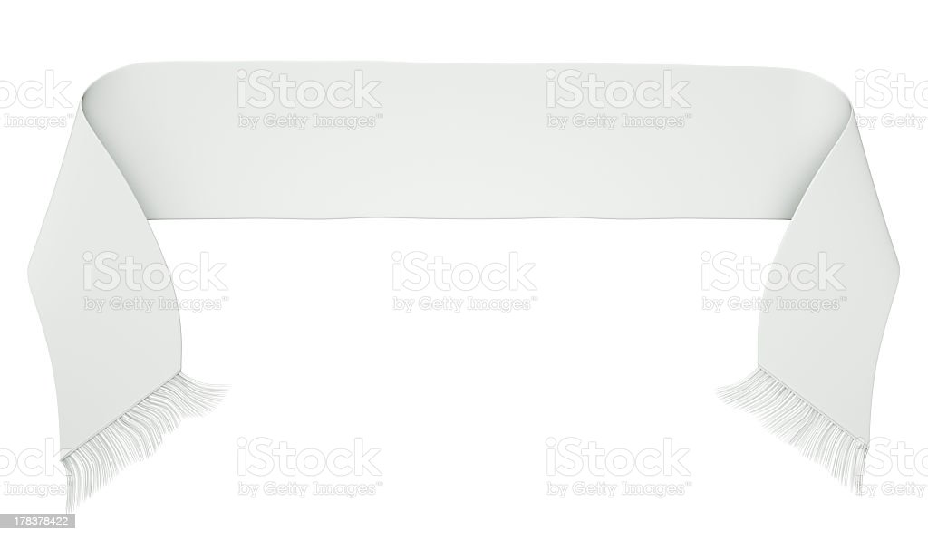 White football or soccer scarf isolated on a white background stock photo