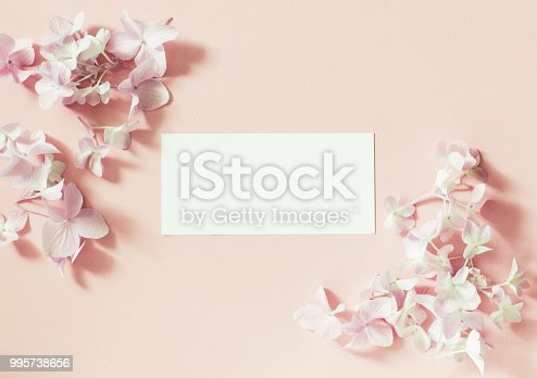 istock White frame blank, pink  flowers and petals for spa or wedding mockup. Beautiful floral pattern. 995738656