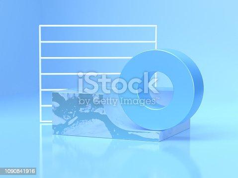 istock white frame blue circle shape abstract geometric shape 3d rendering scene 1090841916