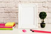 White Frame Mock Up, Digital MockUp, Display Mockup, Styled Stock Photography Mockup, Colorful Desktop Mock Up. Office desk neon pencil, pretty pink notebooks, rubber