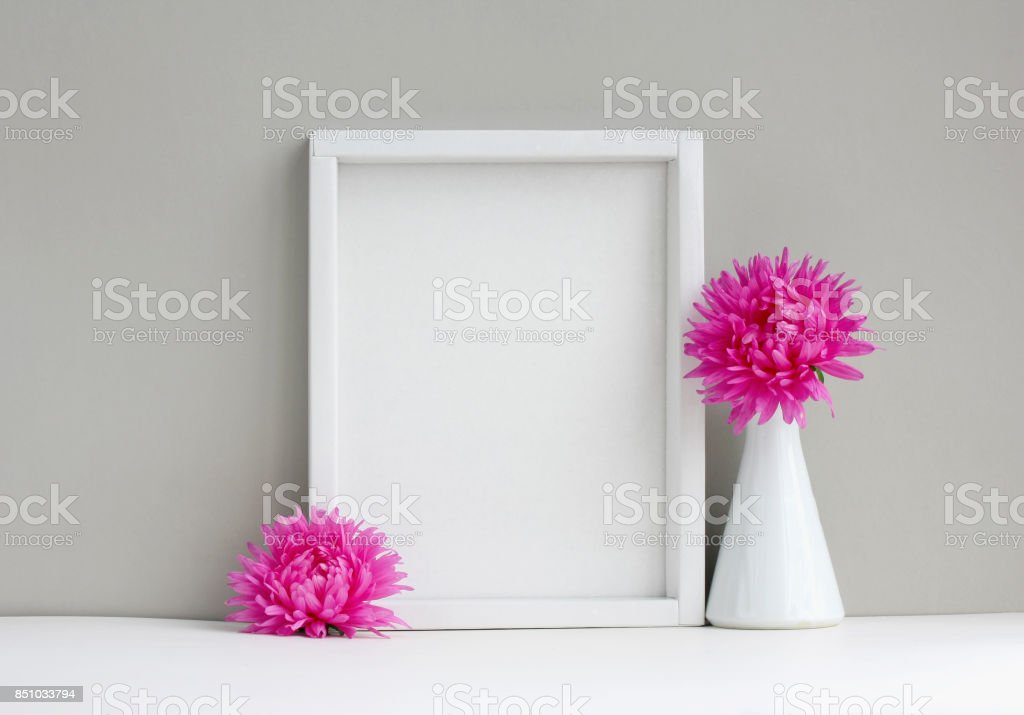 White Frame Mockup Empty Layout Vase With Pink Aster Stock Photo ...
