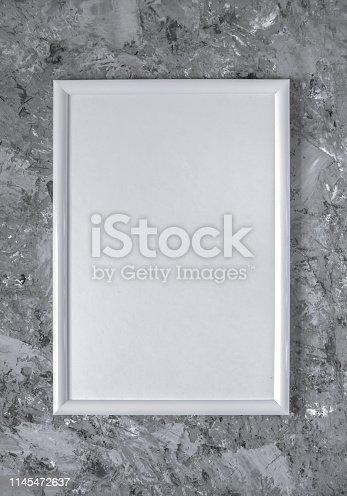 istock White  frame on concrete background 1145472637