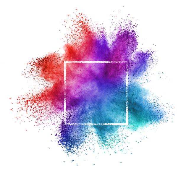 White frame with creative powder splash on a white background. stock photo