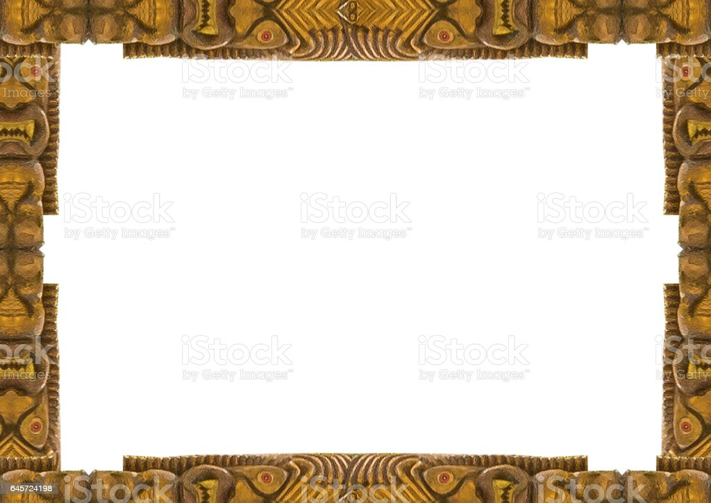 White Frame with Decorated Tribal Borders stock photo