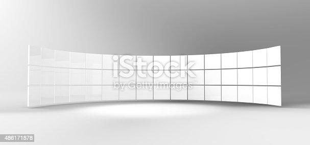 istock white frames in studio,3d render 486171878