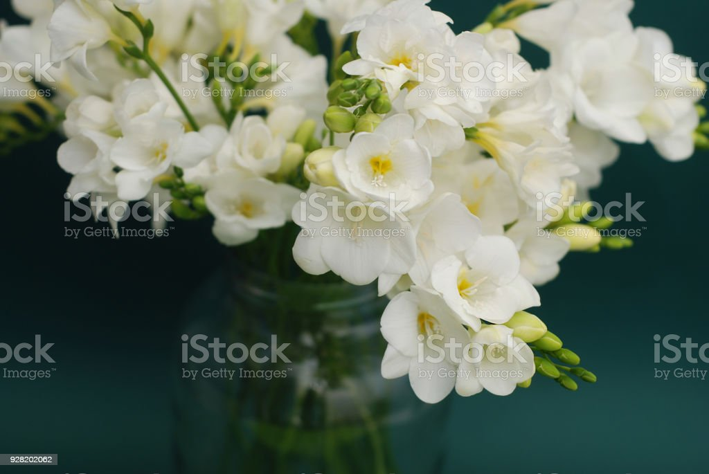 White Freesia Bouquet Of Flowers In Glass Vase On Black Background