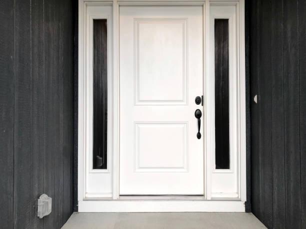 White Front Door white front door black siding front door stock pictures, royalty-free photos & images