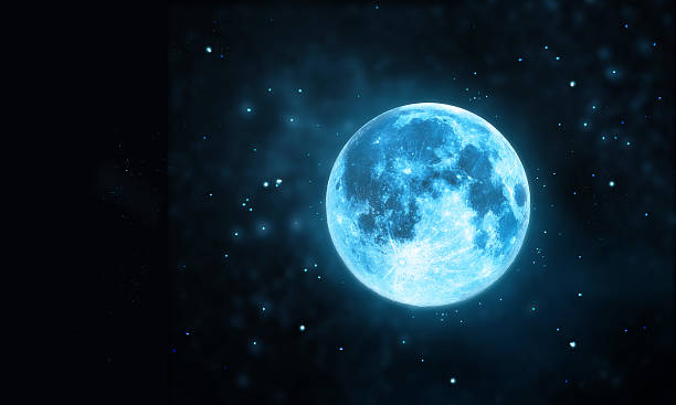 White full moon atmosphere with star at dark night stock photo