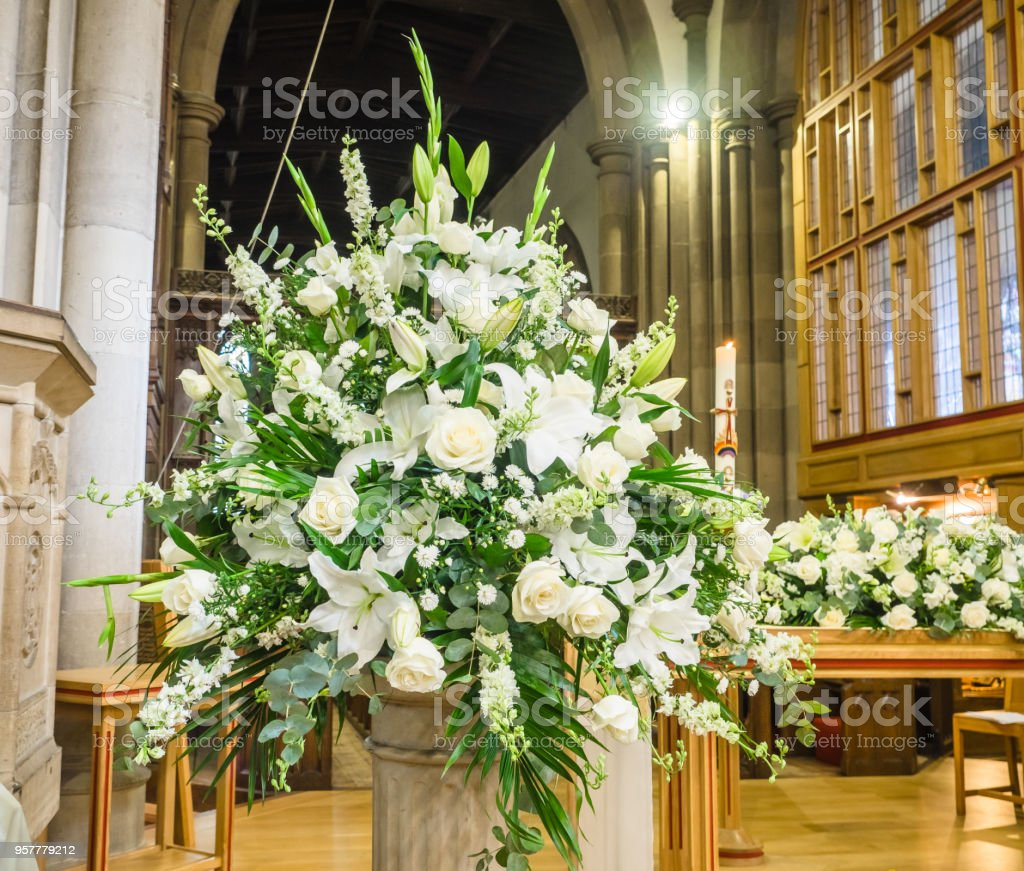 White Funeral flowers stock photo