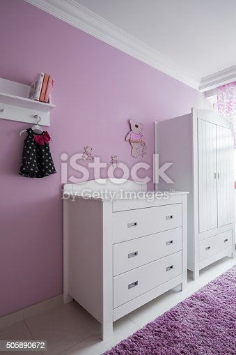 678651100 istock photo White furniture in baby's room 505890672
