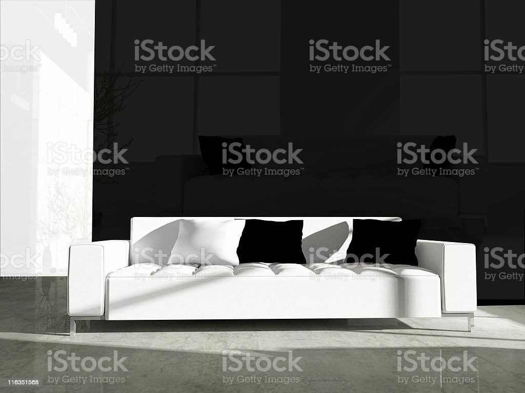 White furniture in black office royalty-free stock photo