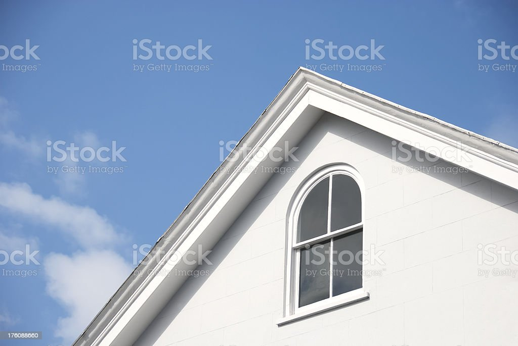 White Gable, Eaves and Blue Sky stock photo