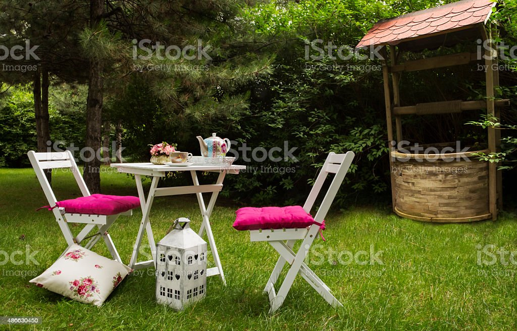 Beautiful landscaped back yard with outdoor patio furniture and...