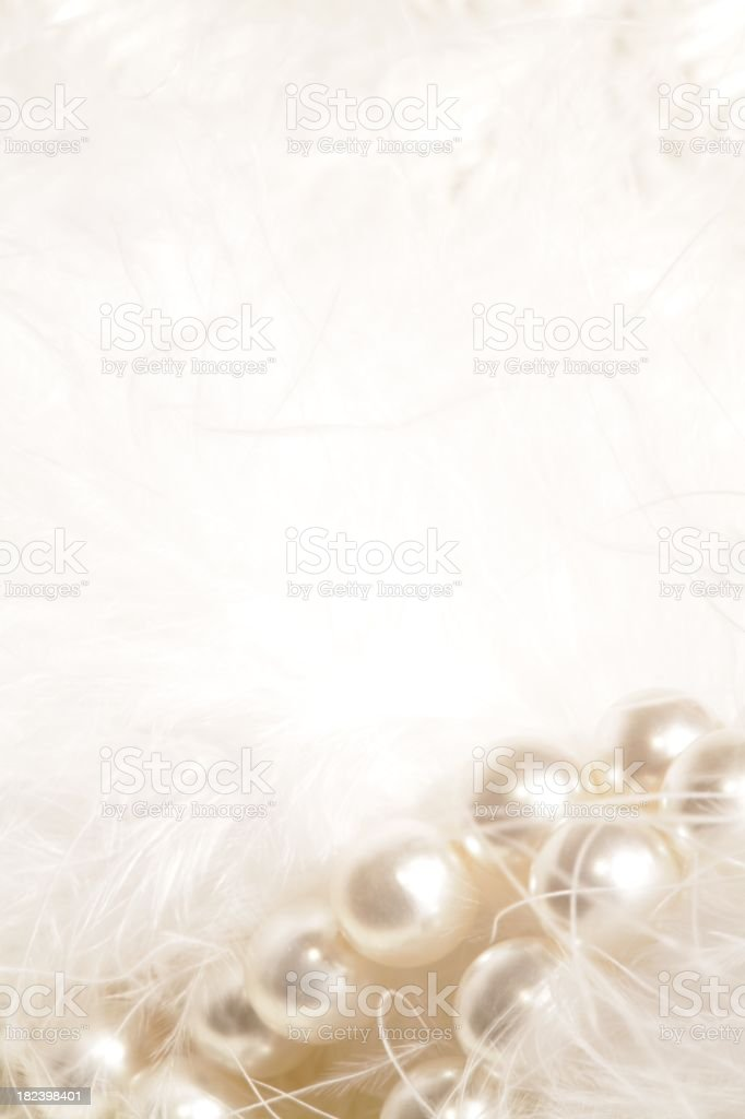 White Garland of Pearls and Feathers - Royalty-free Backgrounds Stock Photo