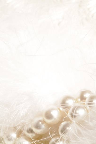 White Garland of Pearls and Feathers stock photo
