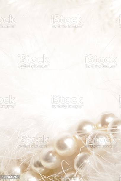 White Garland Of Pearls And Feathers Stock Photo - Download Image Now