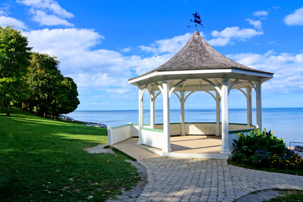 White gazebo along Lake Ontario, Niagara on the Lake, Canada stock photo