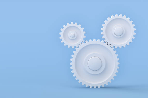 White Gears Symbols Teamwork Concept stock photo