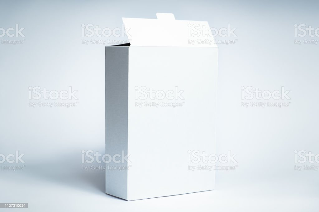Blank carton food package, front view on white background