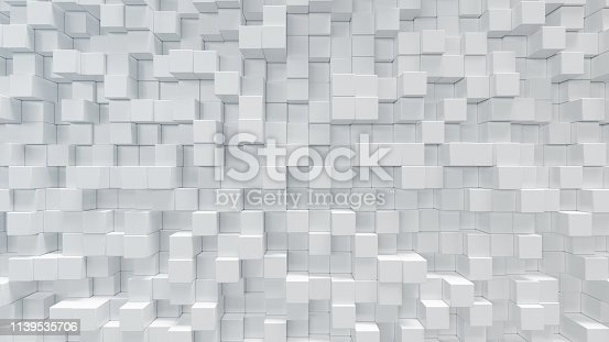 626187518istockphoto White geometric cube, cubical, boxes, squares form abstract background. Abstract white blocks. Template background for your design, 3d illustration 1139535706
