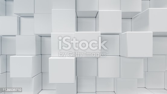 1003112152 istock photo White geometric cube, cubical, boxes, squares form abstract background. Abstract white blocks. Template background for your design, 3d illustration 1139535710
