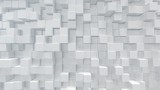istock White geometric cube, cubical, boxes, squares form abstract background. Abstract white blocks. Template background for your design, 3d illustration 1139535713
