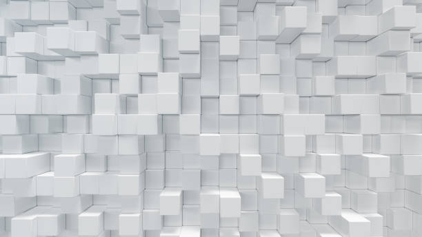 white geometric cube, cubical, boxes, squares form abstract background. abstract white blocks. template background for your design, 3d illustration - cube shape stock pictures, royalty-free photos & images