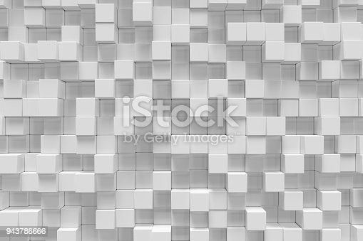 istock White geometric cube, cubical, boxes, squares form abstract background. Abstract white blocks. Template background for your design, 3d rendering 943786666
