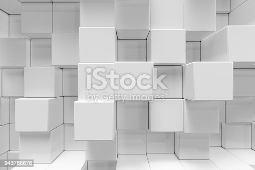 istock White geometric cube, cubical, boxes, squares form abstract background. Abstract white blocks. Template background for your design, 3d rendering 943786676