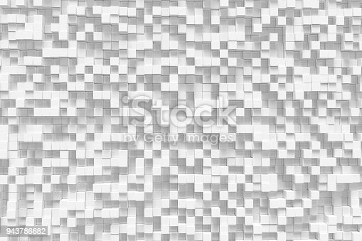 istock White geometric cube, cubical, boxes, squares form abstract background. Abstract white blocks. Template background for your design, 3d rendering 943786682